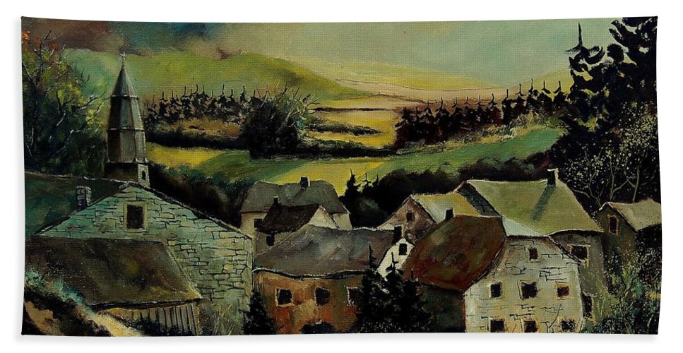 Village Hand Towel featuring the painting Our Opont Belgium by Pol Ledent