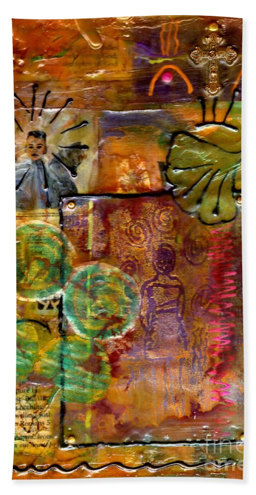 Wood Bath Sheet featuring the mixed media Our Salvation by Angela L Walker