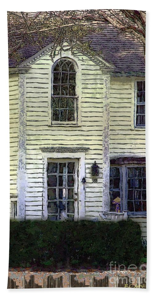 House Hand Towel featuring the painting Our Town's Witch House by RC DeWinter