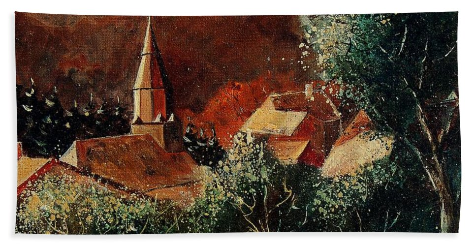 Tree Hand Towel featuring the painting Our Village Opont by Pol Ledent