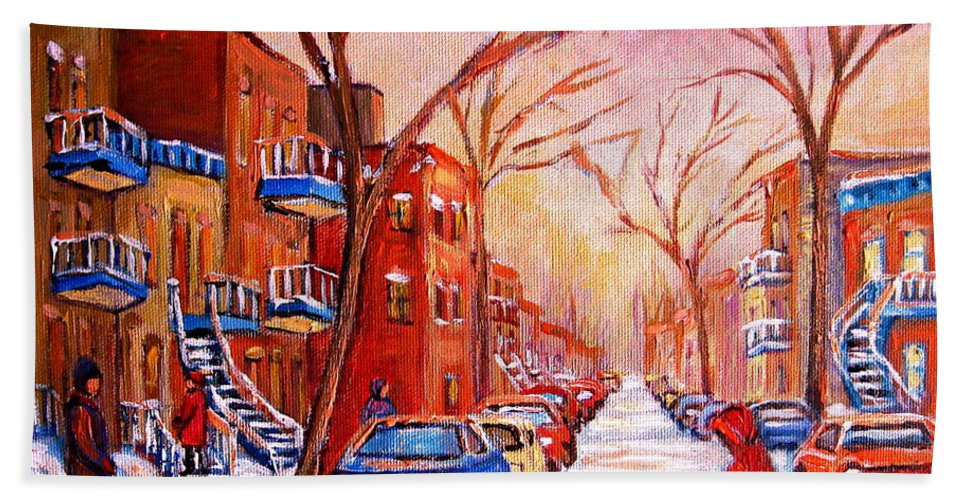 Montreal Hand Towel featuring the painting Out For A Walk With Mom by Carole Spandau