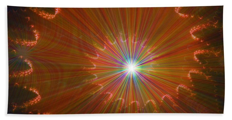 Super Nova Stars Another World Universe Abstract Spectrum Colorful Hand Towel featuring the digital art Out Of Control by Andrea Lawrence