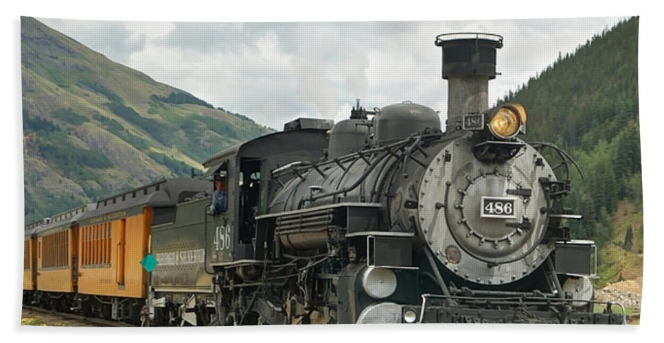 Steam Train Photographs Bath Sheet featuring the photograph Out Of Here by Ken Smith