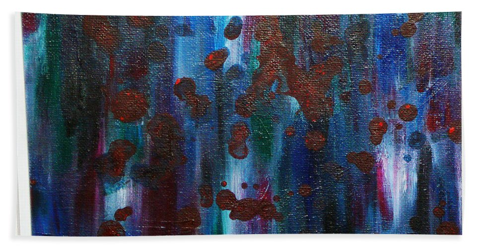 Acrylic Painting Bath Sheet featuring the painting Out Of The Blue by Yael VanGruber