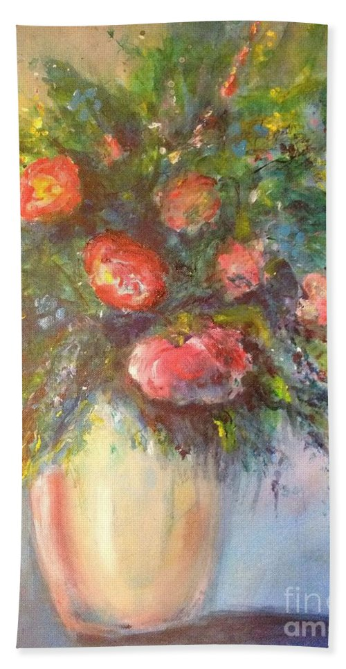 Roses Bath Sheet featuring the painting Out Of The Garden by Leslie Dobbins