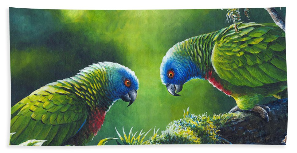 Chris Cox Bath Towel featuring the painting Out On A Limb - St. Lucia Parrots by Christopher Cox