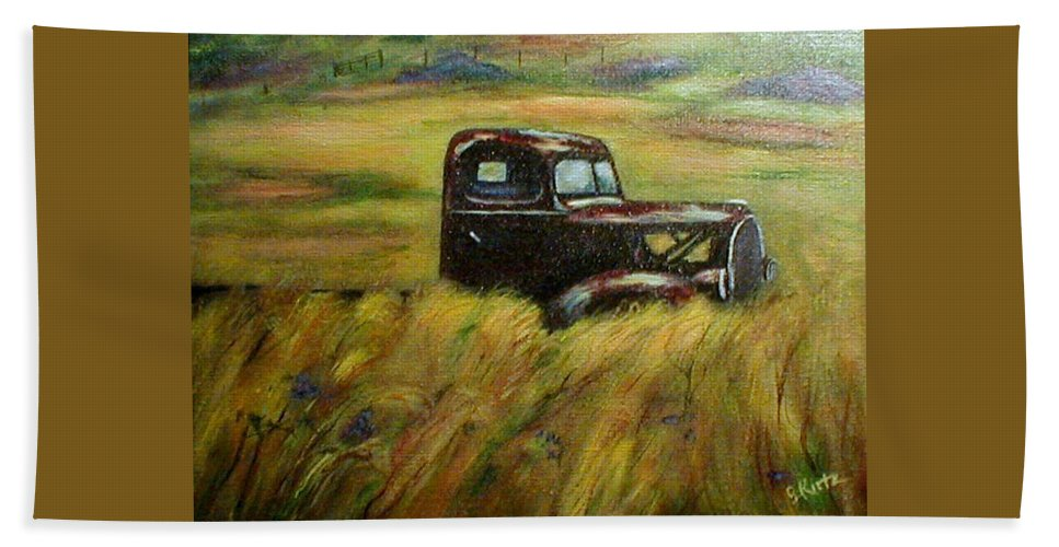 Vintage Truck Hand Towel featuring the painting Out To Pasture by Gail Kirtz
