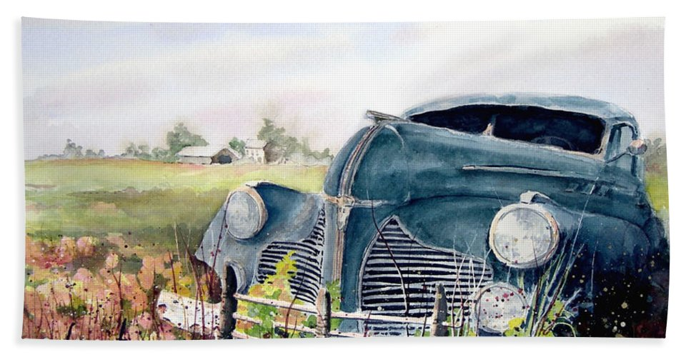 Classic Car Bath Towel featuring the painting Out To Pasture by Sam Sidders