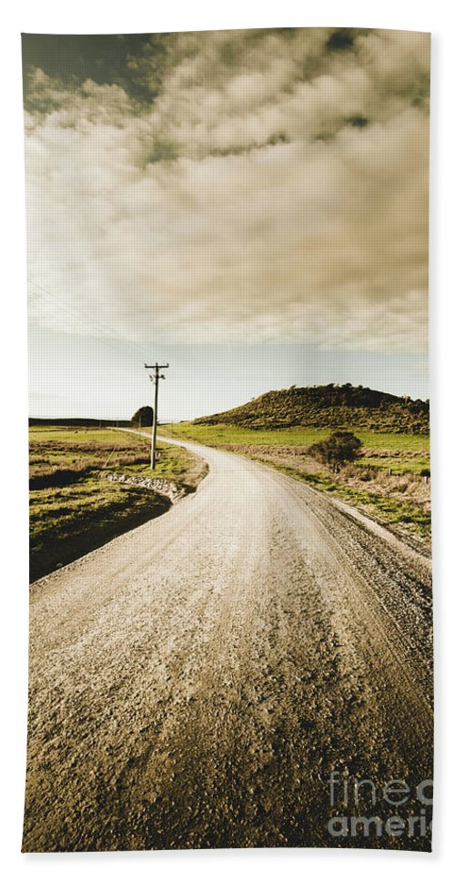 Australia Bath Towel featuring the photograph Outback Gravel Track by Jorgo Photography - Wall Art Gallery