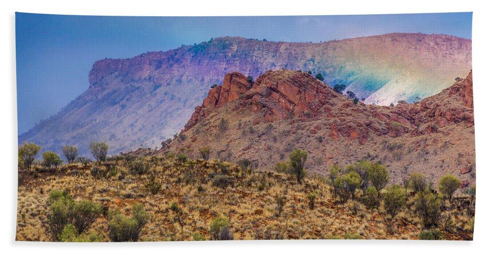 Outback Rainbow Hand Towel featuring the photograph Outback Rainbow by Racheal Christian