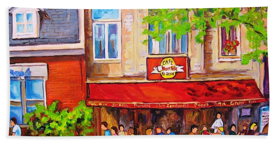 Montreal Bath Towel featuring the painting Outdoor Cafe by Carole Spandau