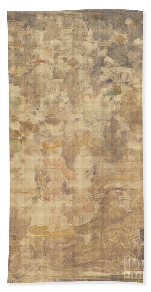 Hand Towel featuring the drawing Outdoor Cafe Scene by Maurice Brazil Prendergast