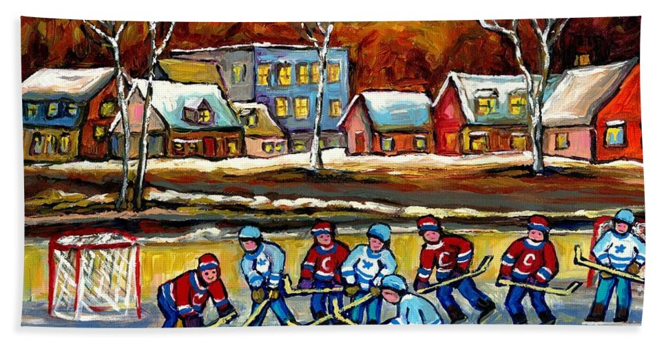Country Hockey Rink Bath Towel featuring the painting Outdoor Hockey Rink by Carole Spandau