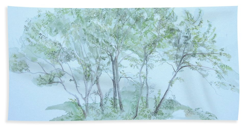 Trees Bath Towel featuring the painting Outer Banks by Leah Tomaino
