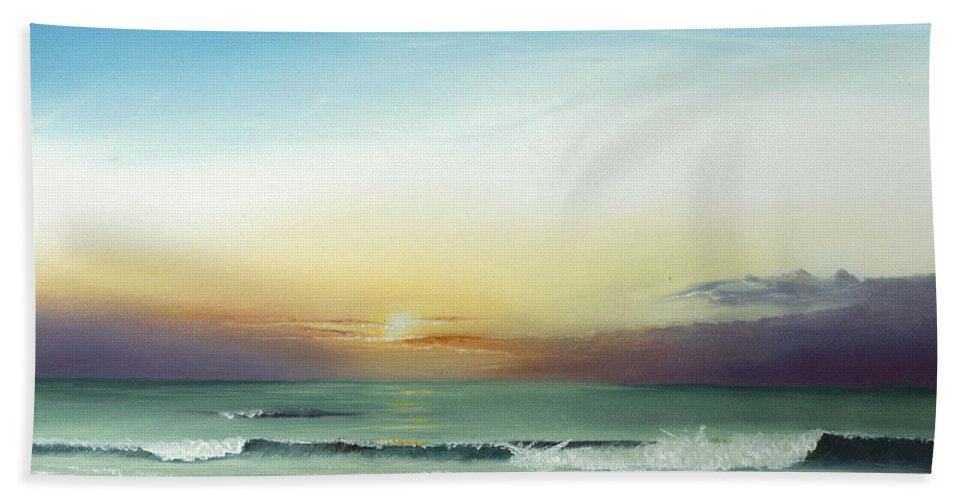 Sunrise Bath Sheet featuring the painting East Coast Sunrise by Albert Puskaric