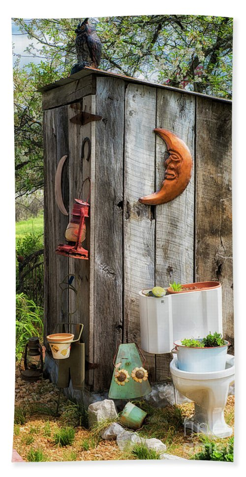 Outhouse In The Garden Hand Towel featuring the photograph Outhouse In The Garden by Priscilla Burgers