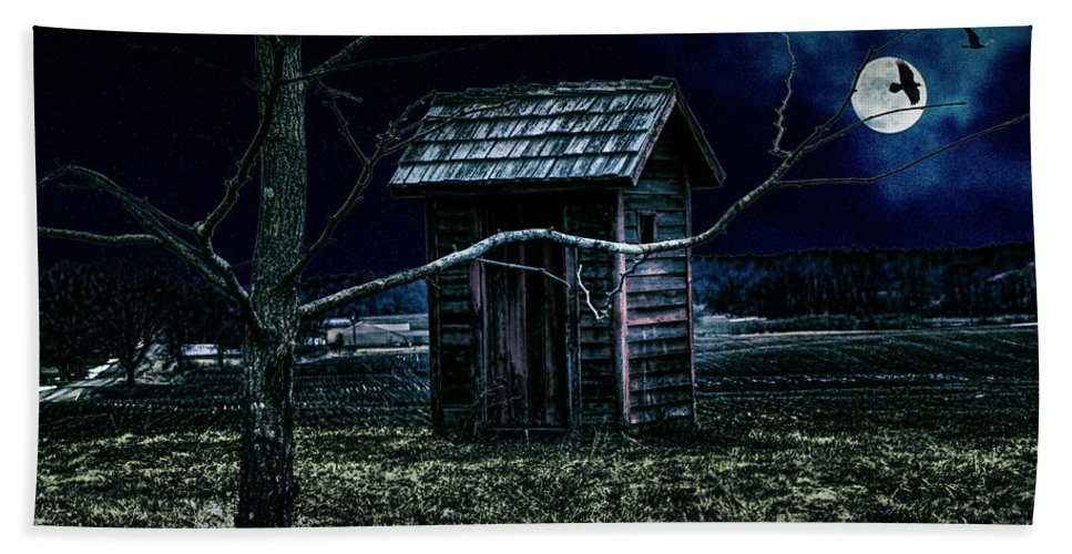 Outhouse Bath Sheet featuring the photograph Outhouse In The Moonlight With Flying Crows by Randall Nyhof