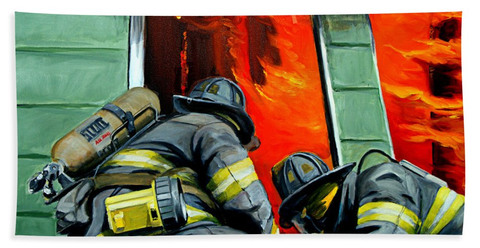 Firefighting Bath Towel featuring the painting Outside Roof by Paul Walsh