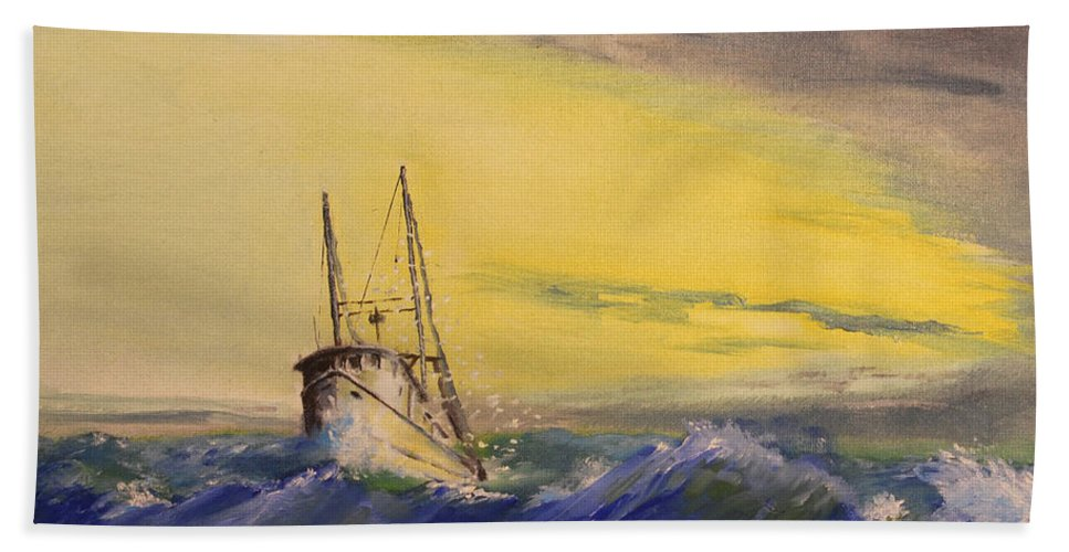 Boat Bath Towel featuring the painting Outside The Jetty by Christopher Jenkins