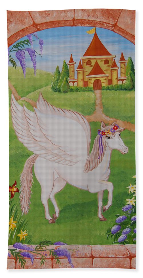 Horses Hand Towel featuring the painting Outside The Window by Valerie Carpenter