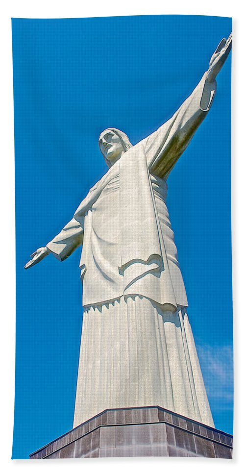 Outstretched Arms Of Christ The Redeemer Icon On Corcovado Mountain In Rio De Janiero Hand Towel featuring the photograph Outstretched Arms Of Christ The Redeemer Icon On Corcovado Mountain In Rio De Janeiro-brazil by Ruth Hager