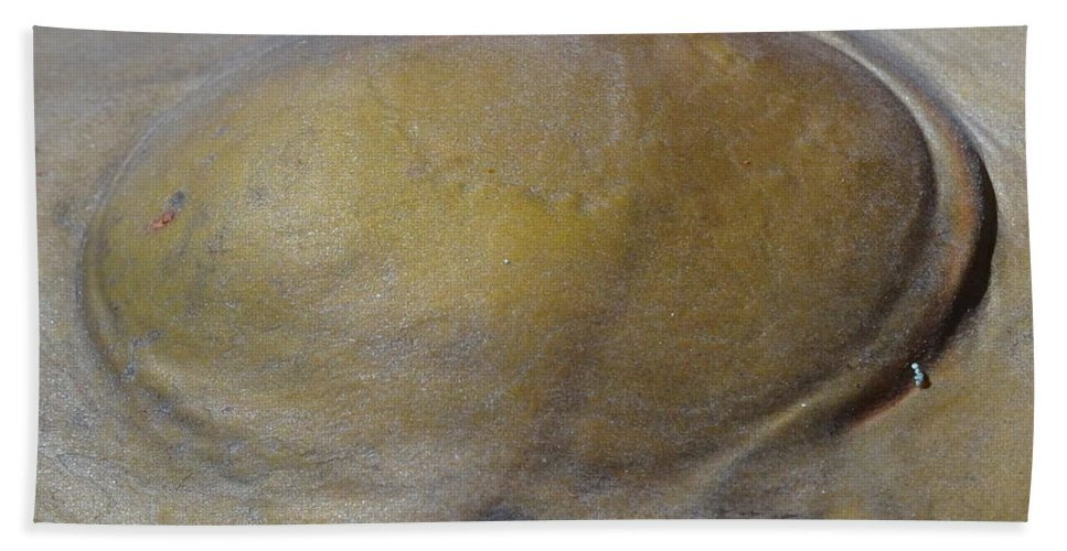 Abstract Bath Sheet featuring the mixed media Outy by Richard Laeton