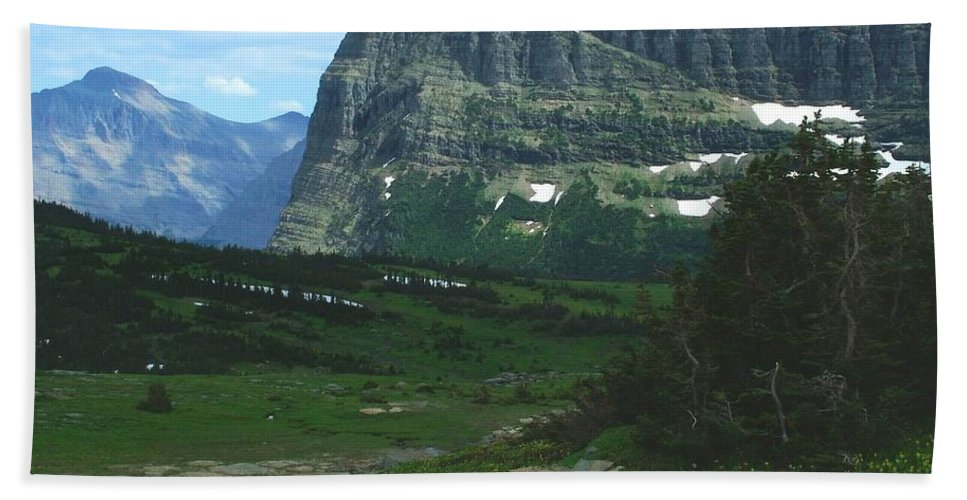 Logan's Pass Bath Sheet featuring the photograph Over Logan's Pass by Tracey Vivar