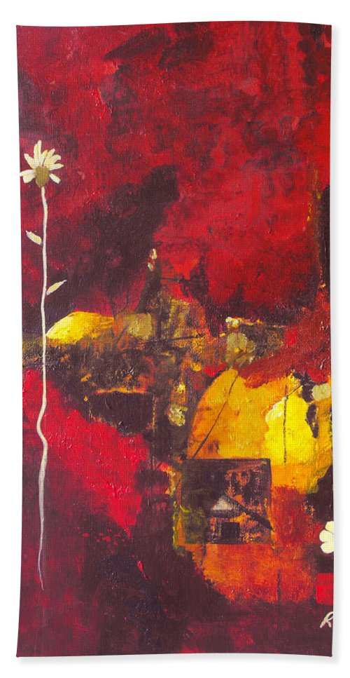 Abstract Bath Sheet featuring the painting Over The Broken Fence by Ruth Palmer