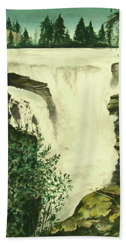 Landscape Watercolor Waterfall Scenic Scenery Landscape Rocks Trees Moss Bath Towel featuring the painting Over The Edge by Brenda Owen