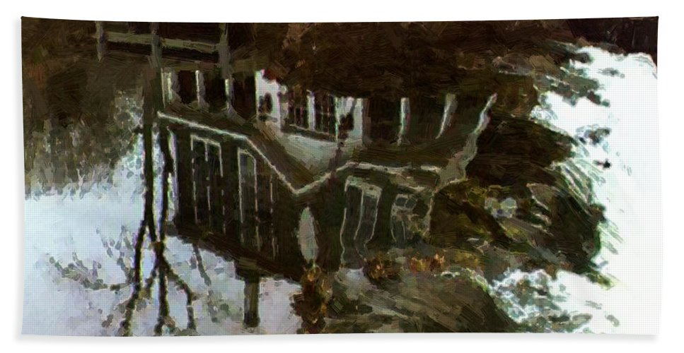 Landscape Bath Sheet featuring the painting Over The Falls by RC DeWinter