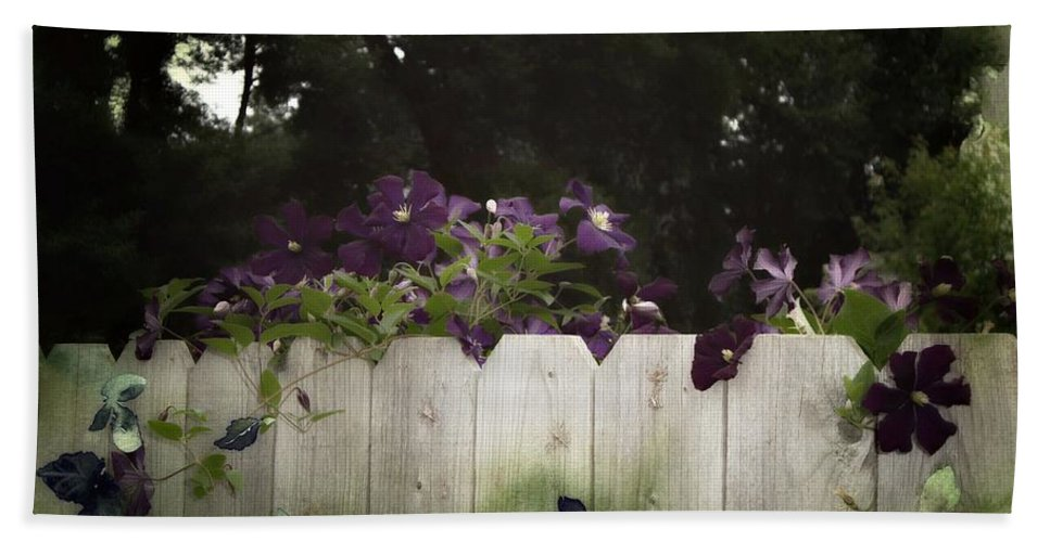 Wood Fence Hand Towel featuring the photograph Over The Fence by Ellen Cannon