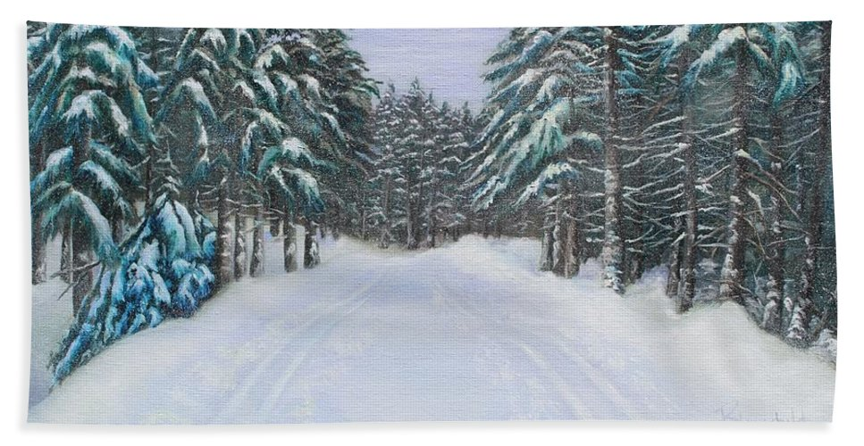 Winter Hand Towel featuring the painting Snow Tracks by Rebecca Hauschild