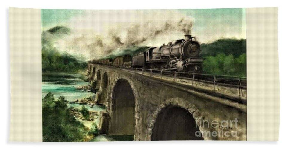 Steam Engine Bath Towel featuring the painting Over the River by David Mittner