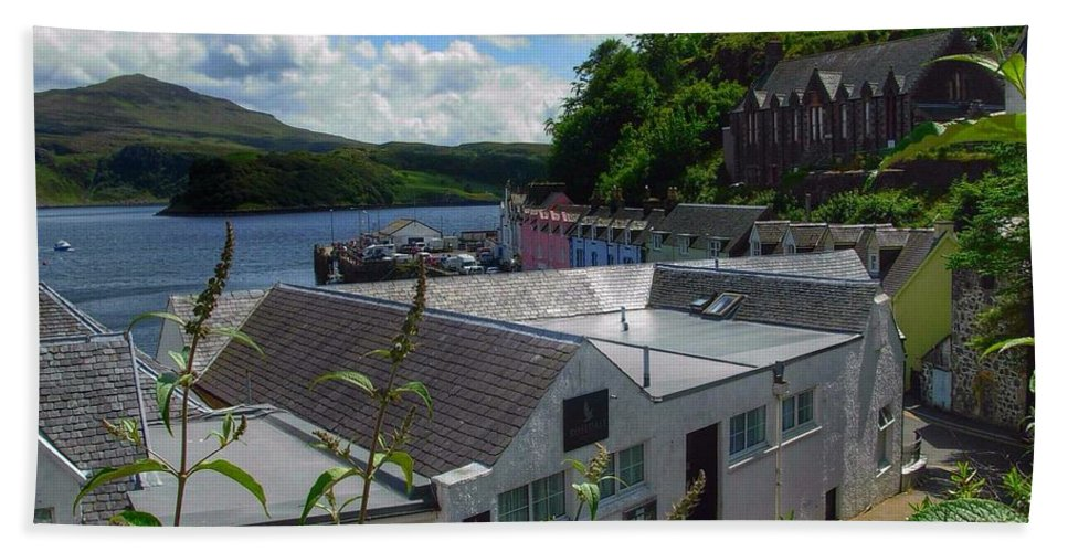 Portree Hand Towel featuring the photograph Over The Rooftops At Portree by Joan-Violet Stretch