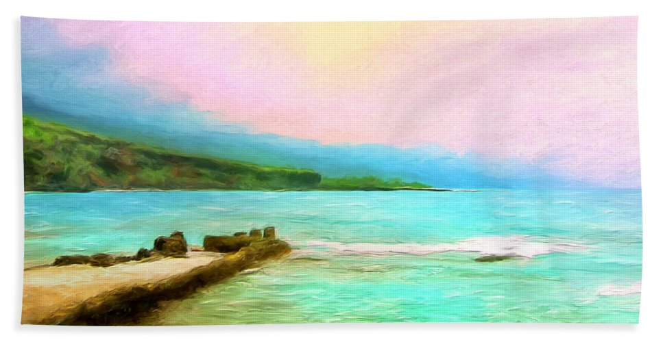 Napoopoo Beach Park Hand Towel featuring the painting Overcast Sunset At Napoopoo Beach Park by Dominic Piperata