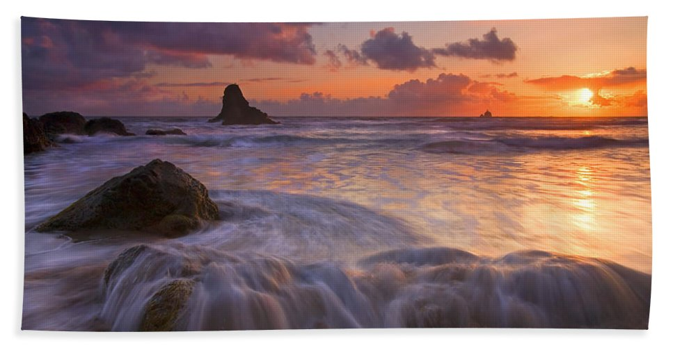Sunset Bath Sheet featuring the photograph Overcome by Mike Dawson