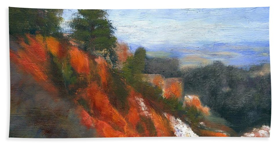 Southwest Bath Towel featuring the painting Overlook by Gail Kirtz