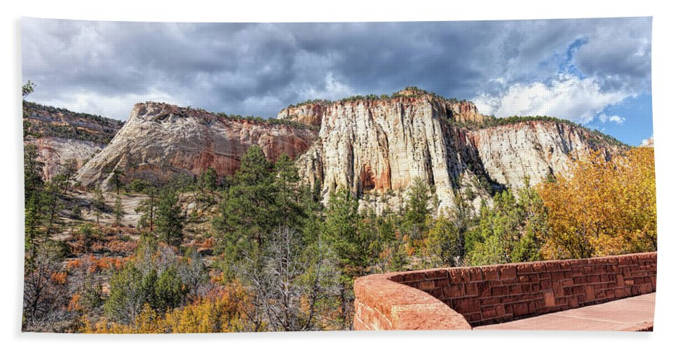 John Bailey Hand Towel featuring the photograph Overlook In Zion National Park Upper Plateau by John M Bailey