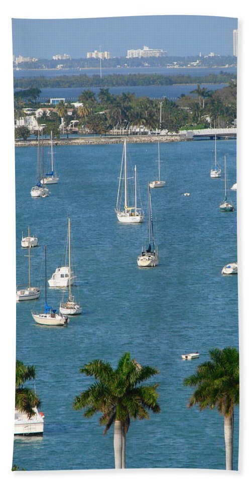Landscape Bath Sheet featuring the photograph Overlooking a Miami Marina by Margaret Bobb