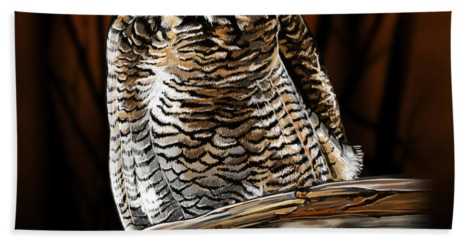 Night Owl Bath Sheet featuring the digital art Night Owl by Andrew Ellis