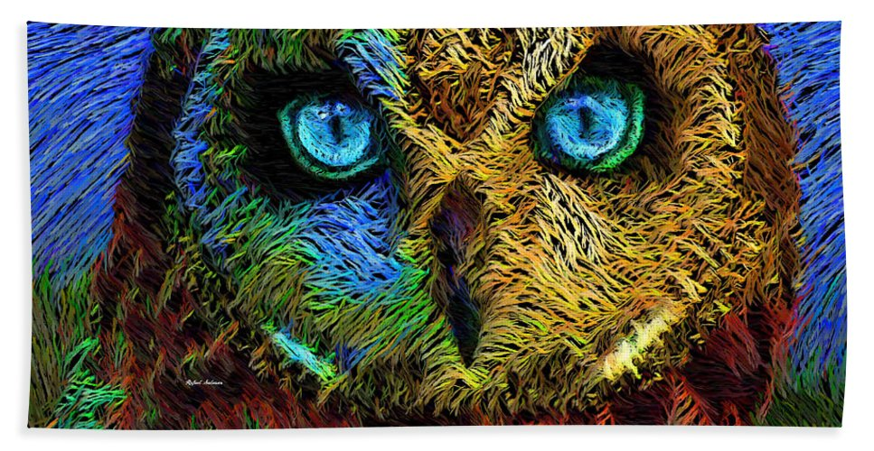 Rafael Salazar Bath Towel featuring the digital art Owl by Rafael Salazar