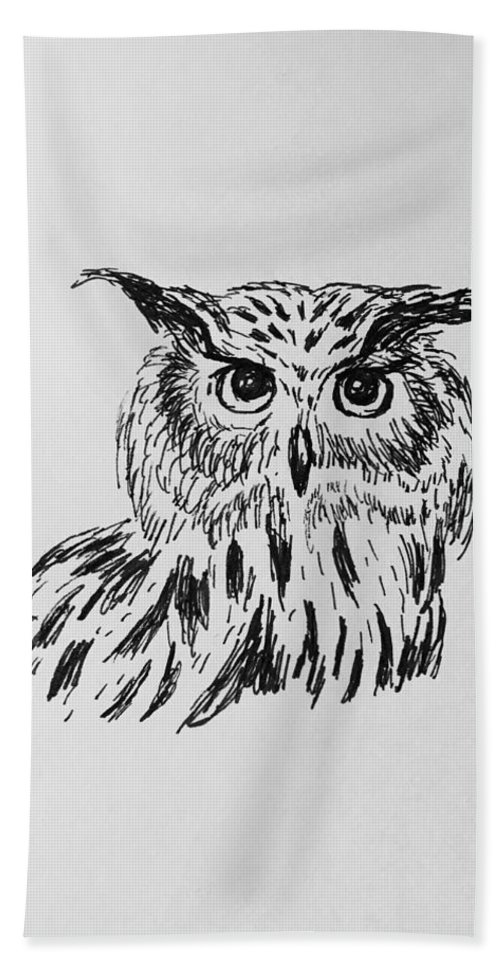 Owl Hand Towel featuring the drawing Owl Study 2 by Victoria Lakes