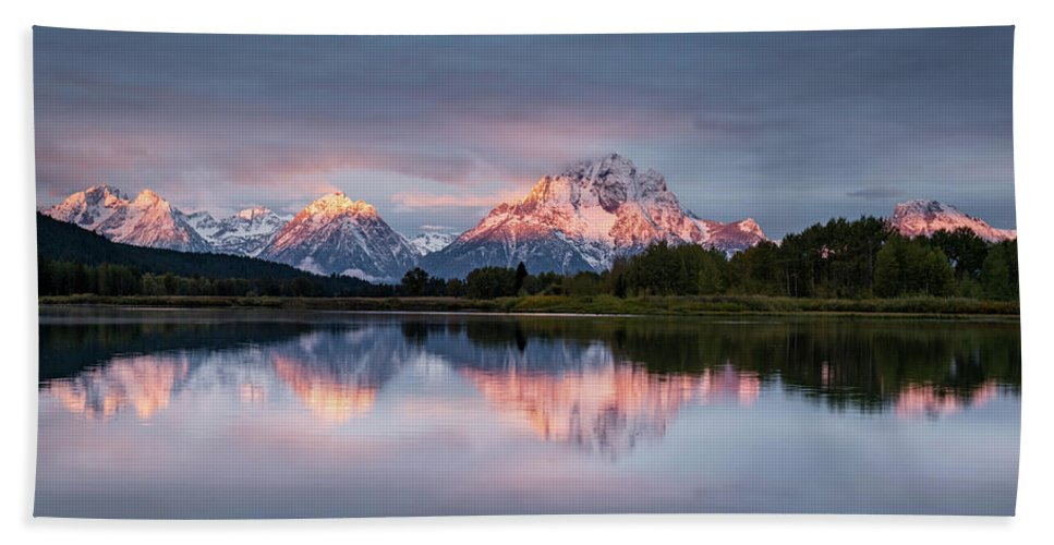 Sunset Hand Towel featuring the photograph Oxbow Bend Sunrise by Jeremy Duguid
