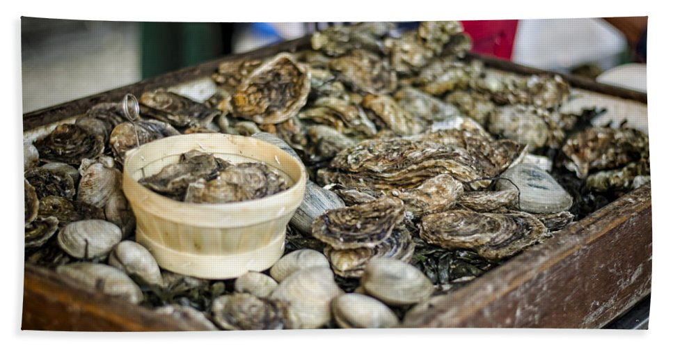 Oysters Hand Towel featuring the photograph Oysters At The Market by Heather Applegate