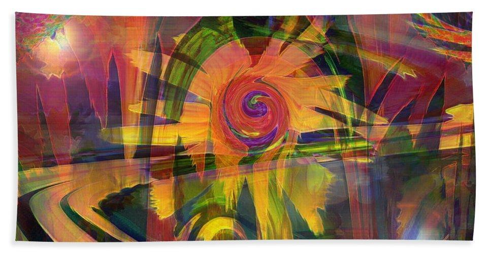 Abstract Art Bath Sheet featuring the digital art Oz And Poppies by Linda Sannuti