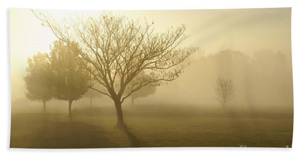 America Hand Towel featuring the photograph Ozarks Misty Golden Morning Sunrise by Jennifer White