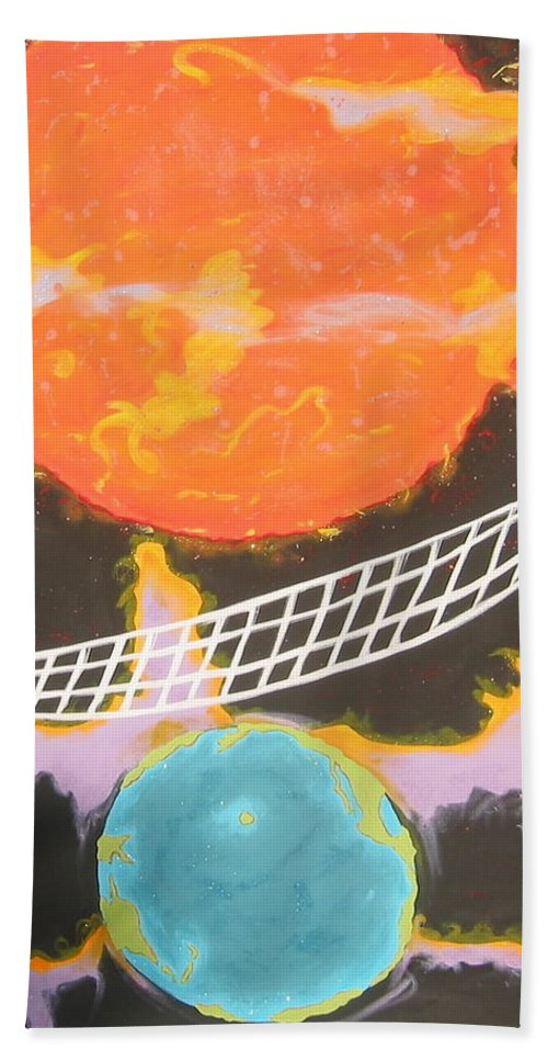 Environment Bath Towel featuring the painting Ozone Net by V Boge