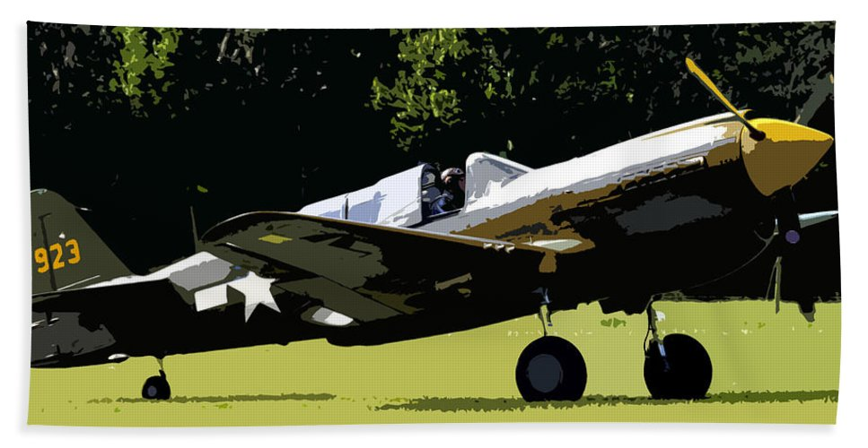 P 40 Bath Towel featuring the painting P40 Take Off by David Lee Thompson