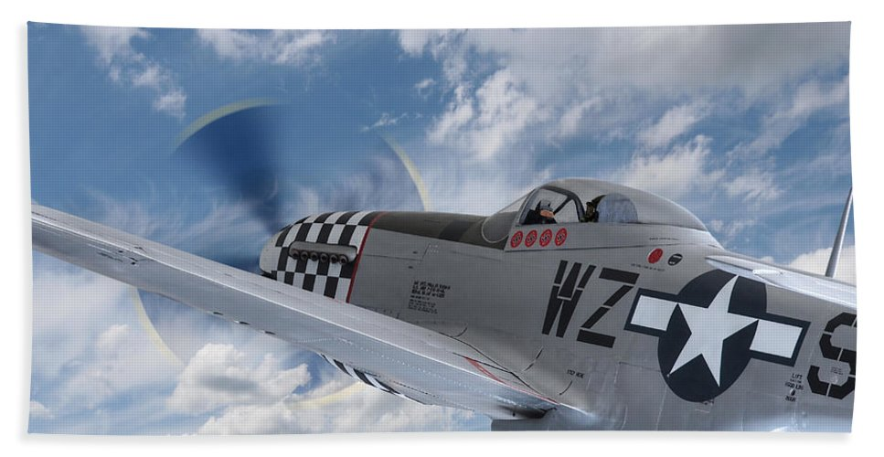 P-51 Bath Sheet featuring the photograph P51 In The Clouds by Gill Billington