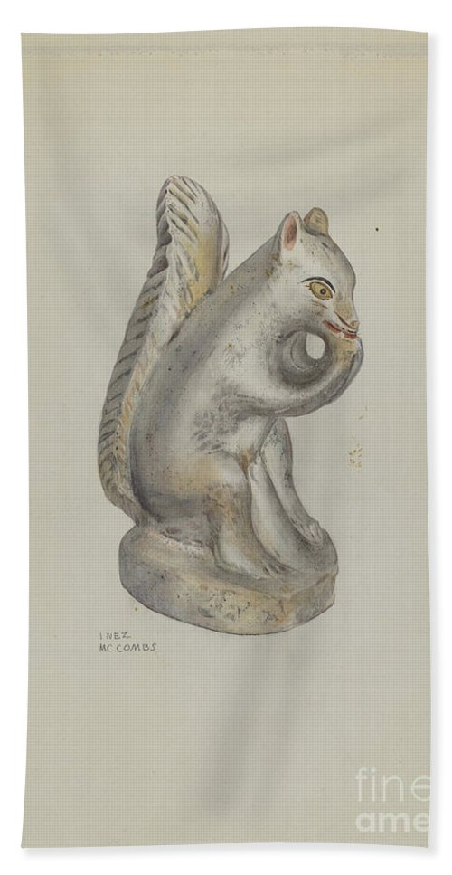 Hand Towel featuring the drawing Pa. German Chalkware Squirrel by Inez Mccombs